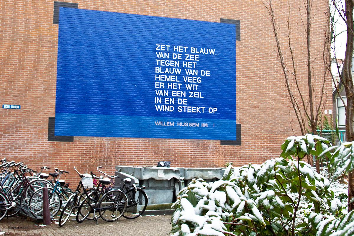 Verrassend Zet het blauw (1961)   Muurgedichten Leiden ED-79